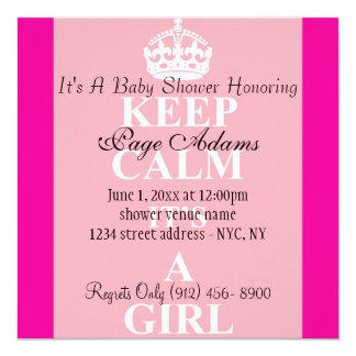 Cute Keep Calm Pink Baby Girl Shower Invitation