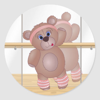 Cute Keep Fit Aerobics Teddy Bear in Girly Pinks Classic Round Sticker