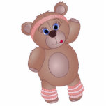 Cute Keep Fit Aerobics Teddy Bear in Girly Pinks Cut Outs