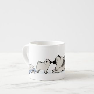Cute Keeshond Family with Blue Sock Espresso Cups