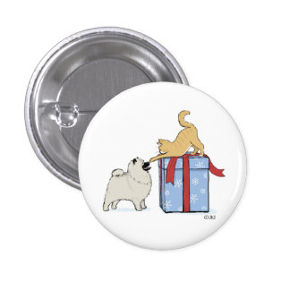 Cute Keeshond Puppy and Kitten Christmas Pinback Buttons