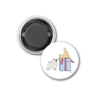 Cute Keeshond Puppy and Kitten Christmas 1 Inch Round Magnet