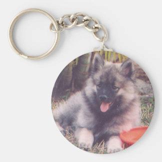 Cute Keeshond Puppy Basic Round Button Keychain