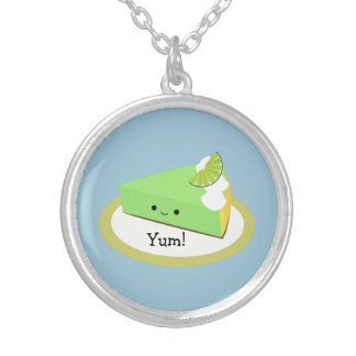 Cute Key Lime Pie Silver Plated Necklace