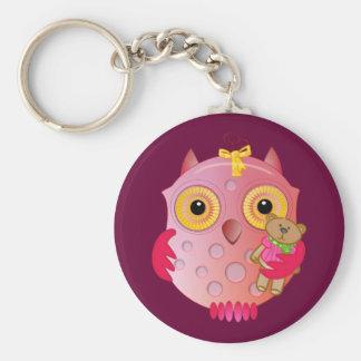 Cute keychain with cartoon baby Owl & bear