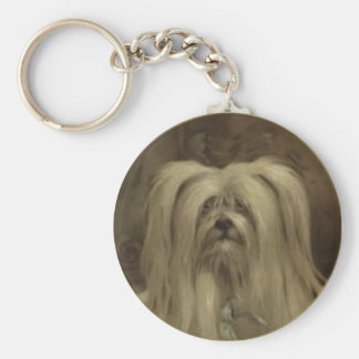 Cute Keychain With Hairy Vintage Puppy