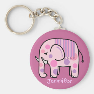 Cute keychain with Pink Elephant and Name
