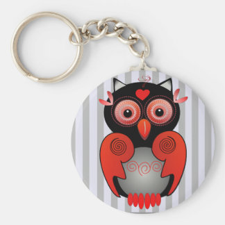 Cute keychain with red & black Owl