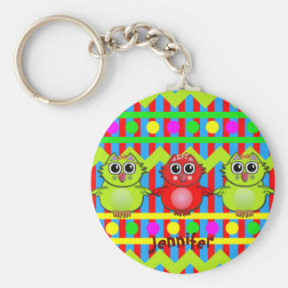 Cute keychain with stripes, polkadots, Owls & Name