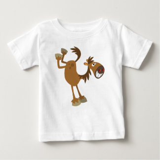Cute Kicking Cartoon Horse Baby T-Shirt