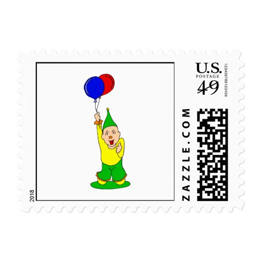 Cute kid clown with balloons stamp