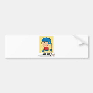 Cute Kid Hockey Player Bumper Sticker