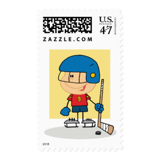 Cute Kid Hockey Player Postage