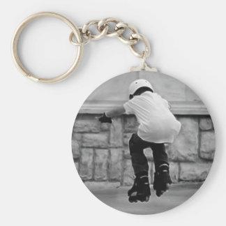 Cute Kid on Rollerblades photo Keychain
