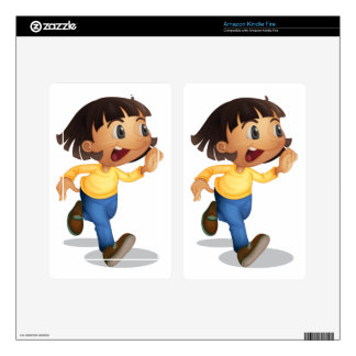 Cute kid running skin for kindle fire