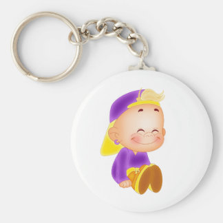 cute kid smiling basic round button keychain