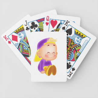 cute kid smiling bicycle playing cards