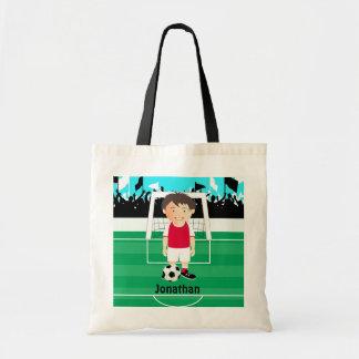 Cute kid soccer player canvas bags