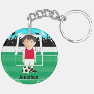 Cute kid soccer player keychains