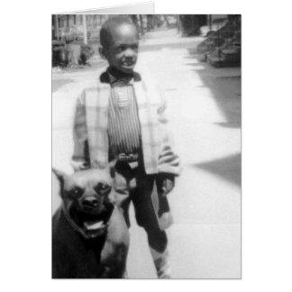 Cute Kid with Cute Dog Greeting Card