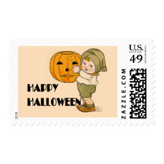 Cute Kid with Pumpkin Halloween Art Postage