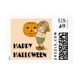 Cute Kid with Pumpkin Halloween Stamps