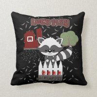 Cute Kids Animal Raccoon Nursery Baby Toddler Throw Pillow