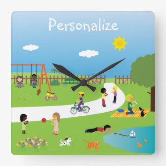 Cute Kids & Animals Playing in the Park Wallclocks