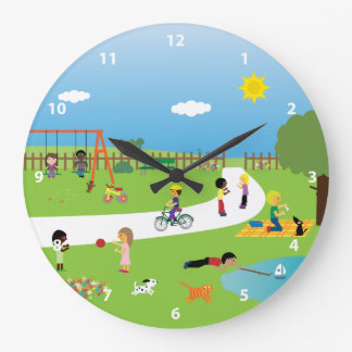 Cute Kids & Animals Playing in the Park Round Wallclock
