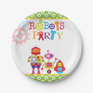 Cute Kids Birthday Party Robot Green Paper Plate