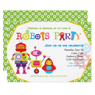 Cute Kids Birthday Party Robots Green Card