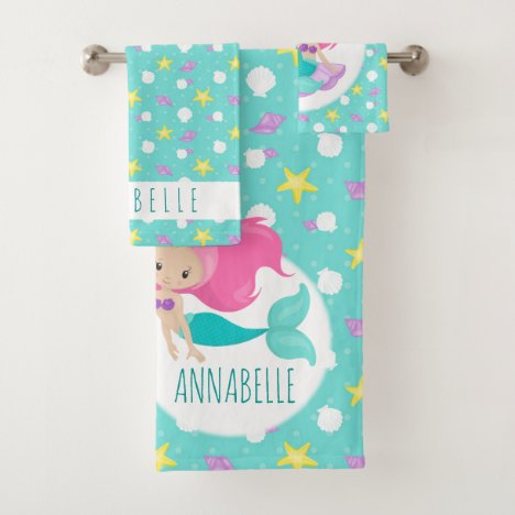 Cute Kids Blue Pink Mermaid Princess Sea Shell Bath Towel Set