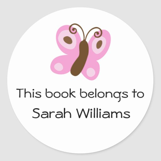 Cute kids bookplate stickers with pink butterfly
