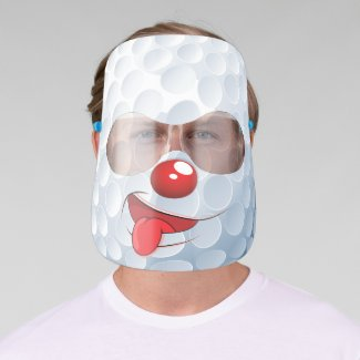 Cute Kids Cartoon Golfball Golf Clown Face Shield