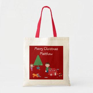 Cute Kids & Cat Christmas Gift Bag