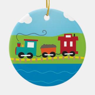 Cute Kid's Choo Choo Train Double-Sided Ceramic Round Christmas Ornament