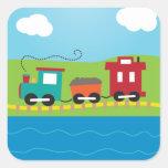 Cute Kid's Choo Choo Train Square Sticker