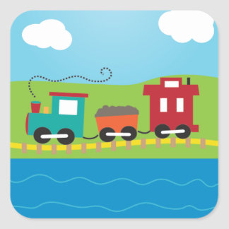 Cute Kid's Choo Choo Train Square Sticker