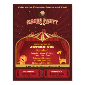 Cute Kid's Circus Tickets Birthday Party 4.25x5.5 Paper Invitation Card