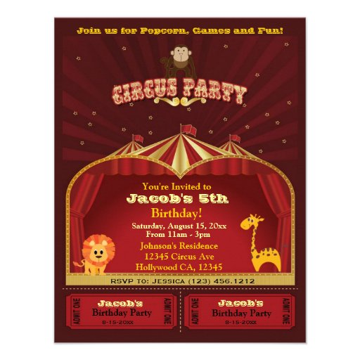 Cute Kid's Circus Tickets Birthday Party Custom Invites