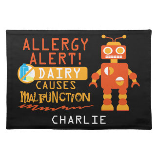 Cute Kids Dairy Allergy Alert Robot Personalized Cloth Placemat