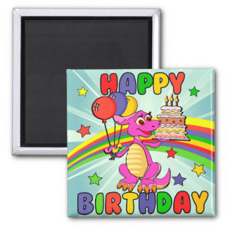 Cute Kids dinosaur birthday Magnet