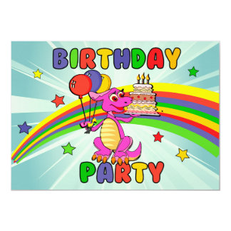 Cute Kids dinosaur birthday party Card