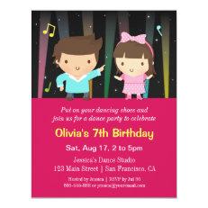 Cute Kids Disco Lights Dance Birthday Party 4.25x5.5 Paper Invitation Card