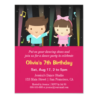Cute Kids Disco Lights Dance Birthday Party 4.25x5.5 Paper Invitation Card