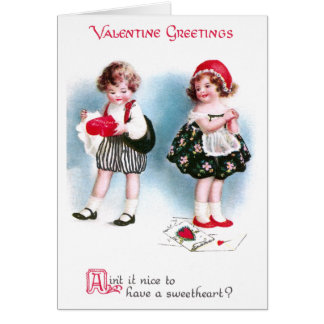 Cute Kids Exchange Valentines Vintage Card
