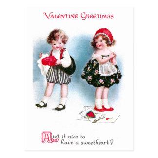 Cute Kids Exchange Valentines Vintage Postcard