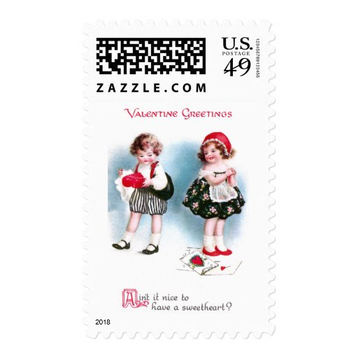 Cute Kids Exchange Valentines Vintage Stamps