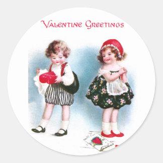 Cute Kids Exchange Valentines Vintage Classic Round Sticker