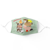 Cute Kids Farm Animals Gingham Plaid Personalized Cloth Face Mask